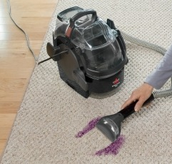 Bissell SpotClean Pro carpet cleaner machine getting rid of dirt