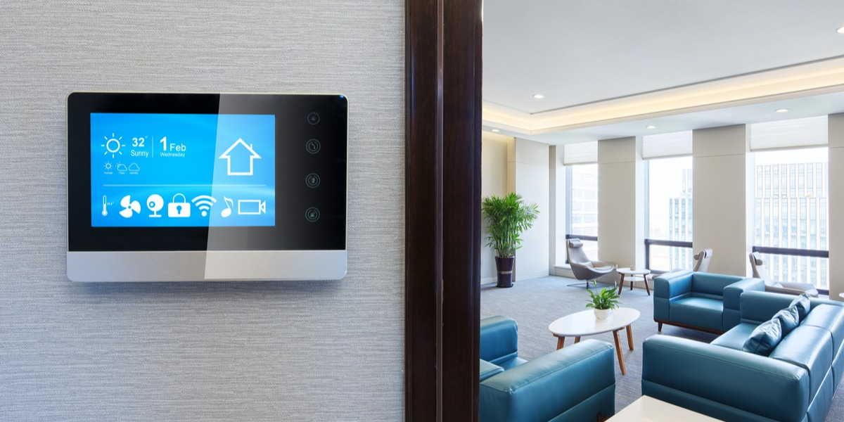 A thermostat on a home's wall