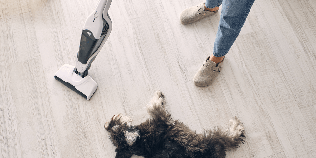 man vacuuming a hard floor with an upright vacuum cleaner while his dog is resting on the floor