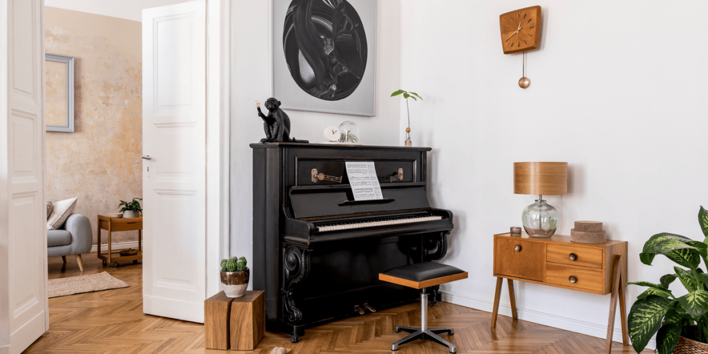 Modern home interior with an upright piano