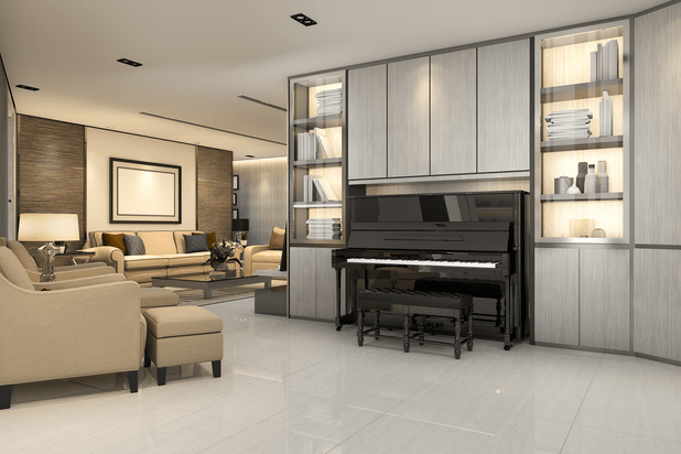 Classic living room with an upright piano and furniture