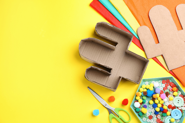 DIY Materials and tools on yellow background