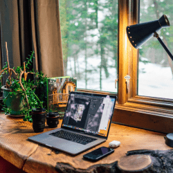 Home office in woods