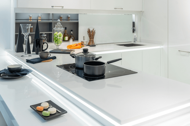 Metal Pot and frying pan on induction hob in modern kitchen