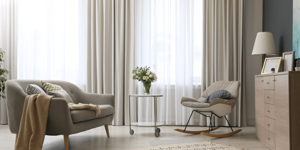 elegant looking living room decorated with ready-made curtains