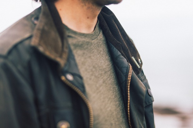 A man wearing a wax Barbour jacket