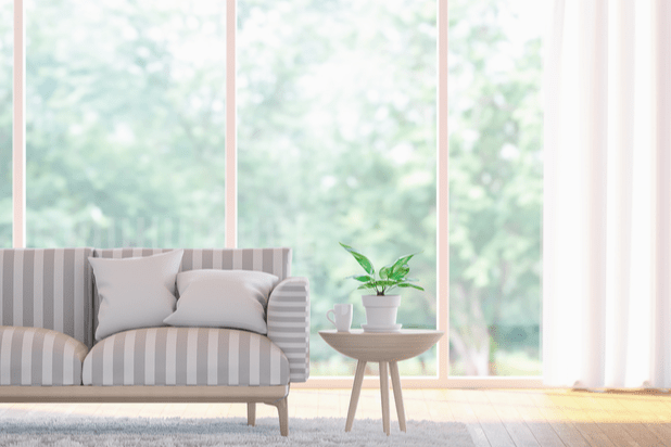 Close up of living room with big window