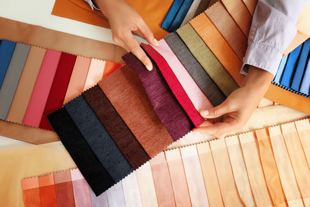Coloured fabric samples