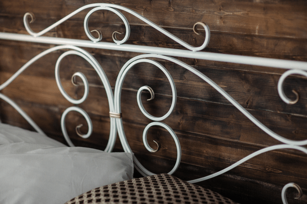Large double wrought iron bed