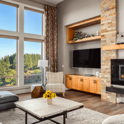 Living room with big windows and a great view