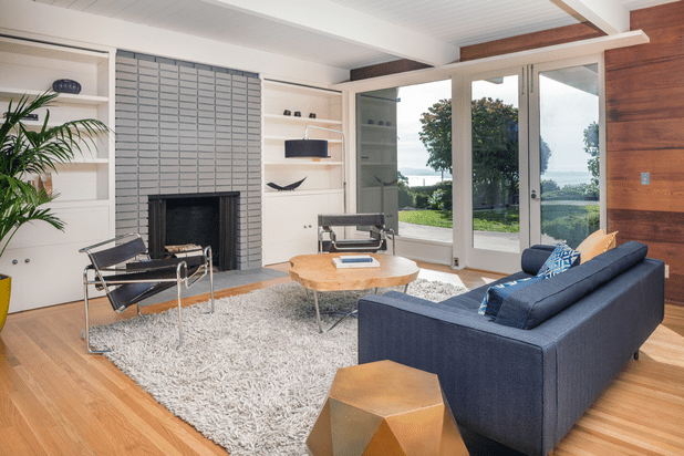 Living room with french doors