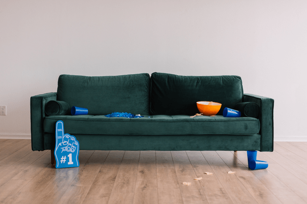Messy suede couch