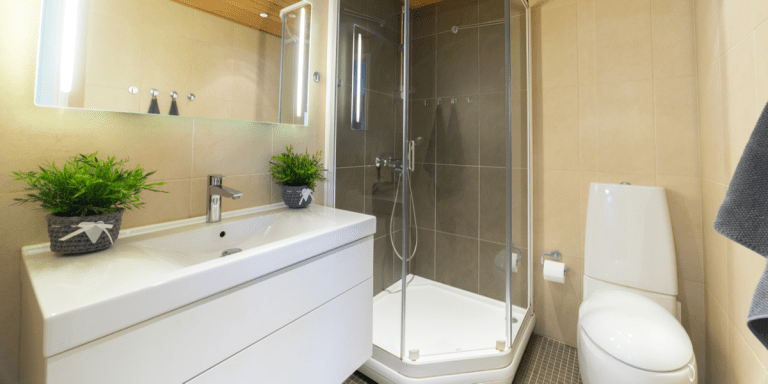 Modern modern bathroom with white sink shower and toilet