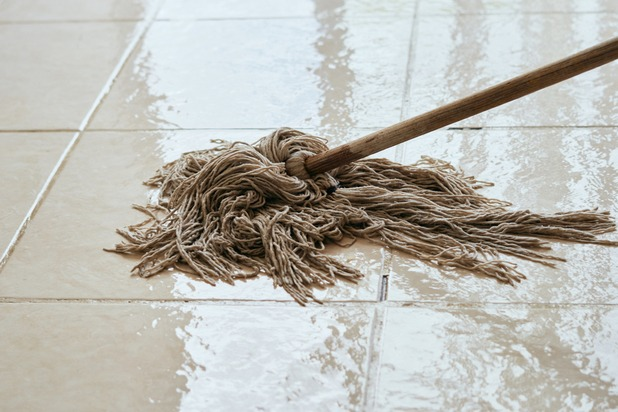 Mopping a tiled floor