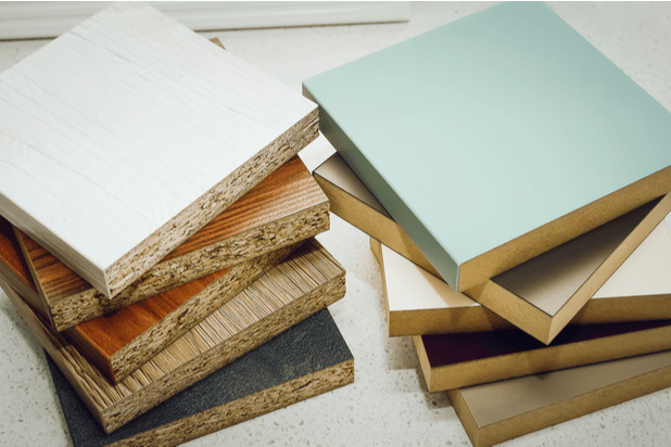 Samples of laminated board and MDF.