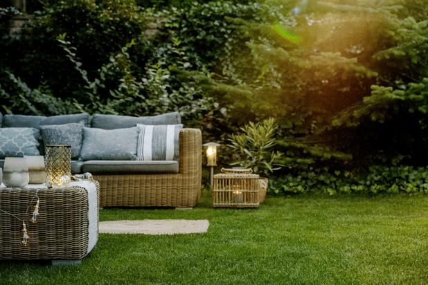 a grassy garden full of furniture early in the morning