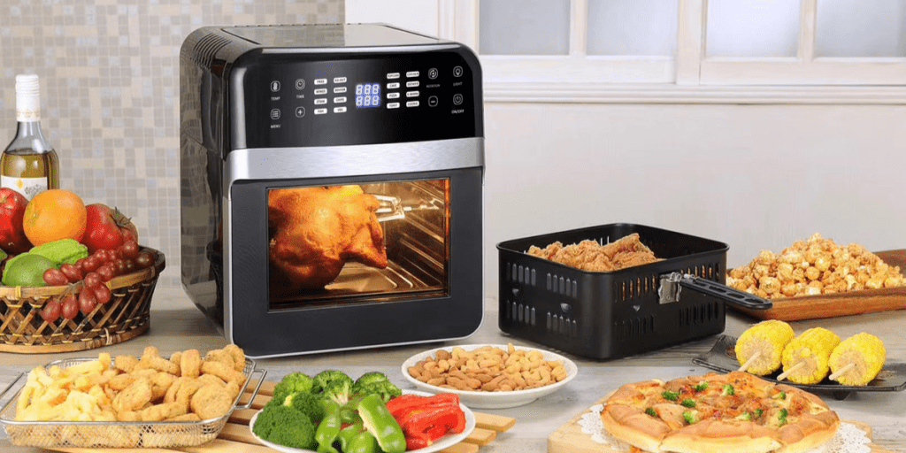 black air fryer with cooked meals