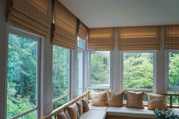 brown roman blind shade curtain mountain background living room