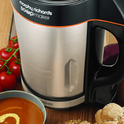 Morphy Richards 48822 soup maker on kitchen countertop with soup
